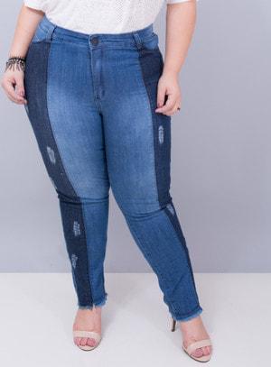 Calça em Jeans com Elastano Skinny Bicolor com Pesponto