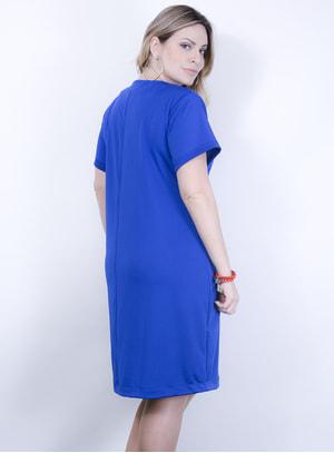 Vestido em Malha Fria com manga Curta e Decote em V com Aplicação de Ilhós