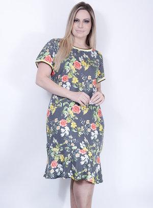Vestido em Viscose Estilo Sereia com Estampa Floral e Detalhe nas Mangas e Gola em Ribana Preto