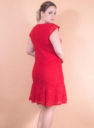 Vestido em Guipir Modelo Sereia Vermelho