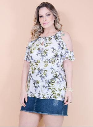 Blusa Ciganinha em Viscose Estampa Floral com Babado e Amarração