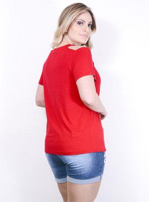 Blusa em Malha com Recorte no Ombro Love