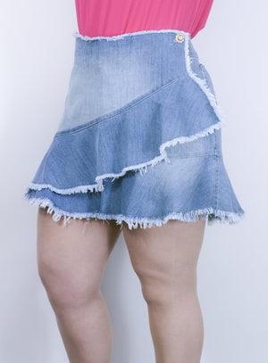 Saia em Jeans Destroyed com Sobreposição e Babados