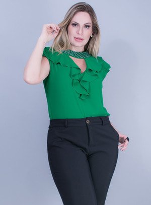 Blusa em Crepe com Babados e Pedraria Verde