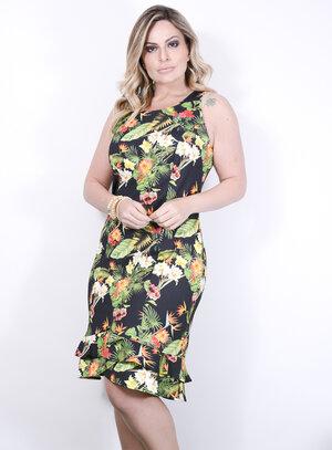Vestido em Crepe Floral Modelo Sereia