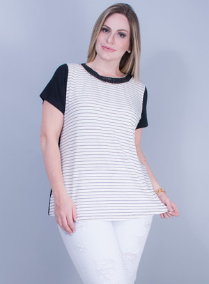 T-shirt em Malha com Estampa Listrada e Gola Bordada Branca