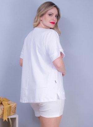 Blusa em Malha com Bordados Branca