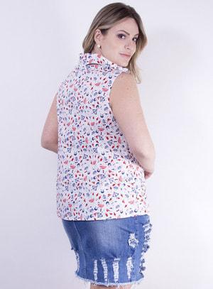 Camisa em Tricoline Sem Mangas e Estampa Praiana
