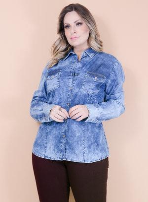 Camisa Jeans Manchada com Bolsos