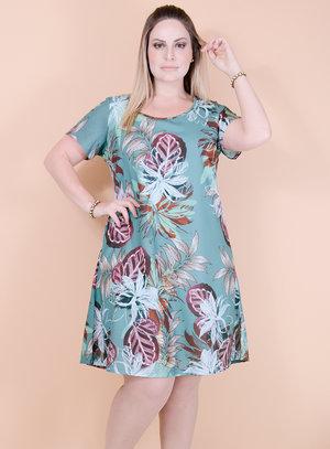 Vestido Evasê em Chiffon Gola Redonda Estampa Floral