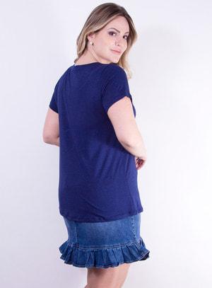 T-shirt em Malha com Estampa de Paetê Dupla Face Azul Marinho