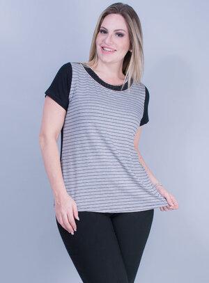 T-shirt em Malha com Estampa Listrada e Gola Bordada Cinza