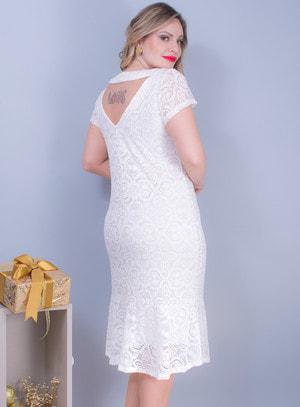 Vestido em Renda com Recorte nas Costas e Decote Rainha Branco