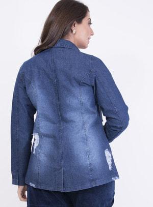 Jaqueta em Jeans Destroyed com Botões