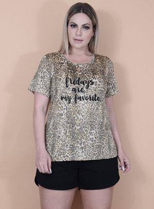 T-Shirt em Viscose Fridays Animal Print