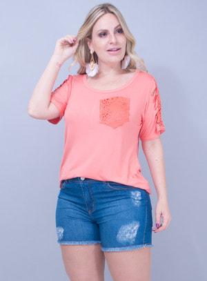 T-Shirt em Malha com Corino Recortado a Laser Laranja