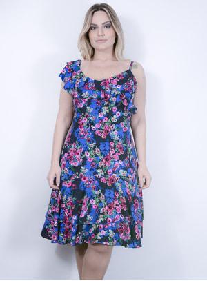Vestido de um Ombro Só em Viscose com Estampa Floral com Forro