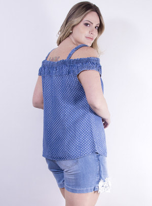 Blusa Ciganinha em Tecel Imita Jeans com Estampa de Poá e Amarração