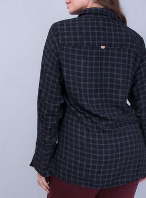 Camisa em Crepe Xadrez com Botões nas Mangas