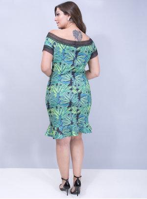 Vestido em Crepe com Ponto Roma no Decote Peplum
