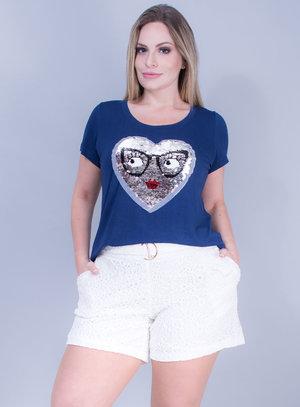 T-shirt em Malha com Coração em Paetê Dupla Face Azul