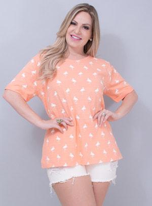 T-shirt Básica em Algodão Flamingos