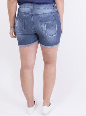 Short em Jeans com Elastano com Aplicação e Estampa de Flores