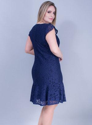 Vestido Sereia em Renda Com Manga Curta Azul