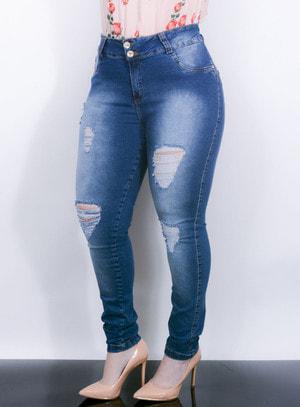 Calça em Jeans Skinny Destroyed com Bolsos