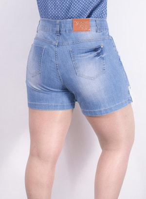 Short Saia em Jeans com Aplicação de Guipir na Barra
