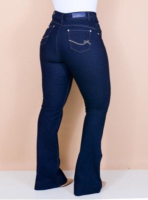 Calça Jeans Flare Lavagem Escura Básica