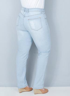 Calça Reta em Jeans Delavê Destroyed