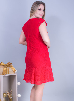 Vestido Sereia em Renda Com Manga Curta Vermelho