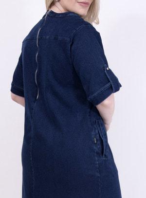 Vestido em Jeans com Elastano com Decote Transpassado e Bolsos