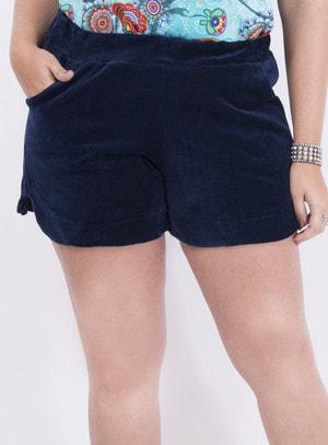 Short em Plush com Bolsos Azul