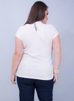 T-Shirt em Malha Canelada Chocker com Lurex Dourada