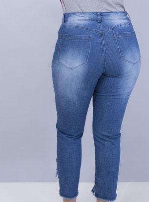 Calça em Jeans Skinny com Barra Destroyed