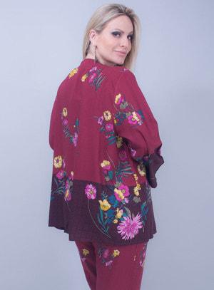 Kimono em Viscose Floral Bordô