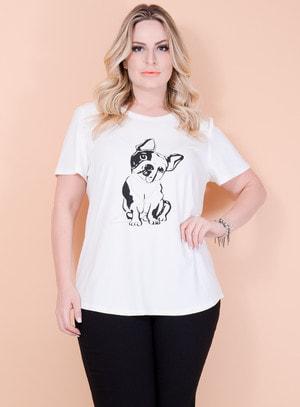 T-Shirt em Malha Estampa Cachorro com Pérolas