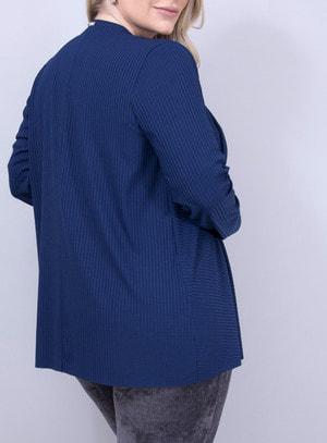 Cardigan em Malha Canelada Assimétrico Azul Marinho