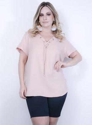 Blusa em Viscose com Manga Curta e Decote em V com Amarração Rosé