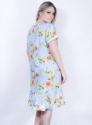 Vestido em Viscose Estilo Sereia com Estampa Floral e Detalhe nas Mangas e Gola em Ribana Azul
