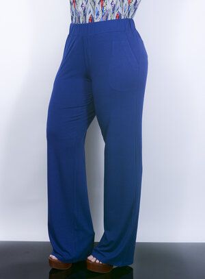 Calça Reta em Malha com Bolsos Azul Royal