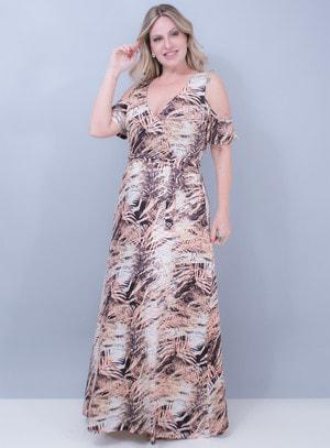 Vestido Longo em Malha com Cinto Animal Print