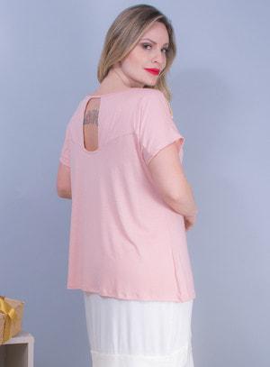 Blusa em Malha com Recortes e Pedraria Rosa