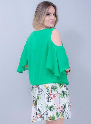 Blusa em Crepe Bordado Verde