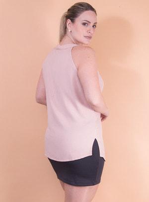 Blusa em Viscose sem Mangas com Amarração no Decote Rosê