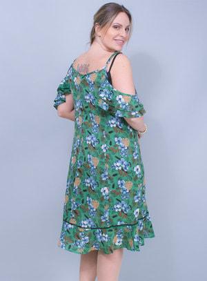 Vestido Ciganinha em Crepe Babados na Barra e Detalhe no Decote
