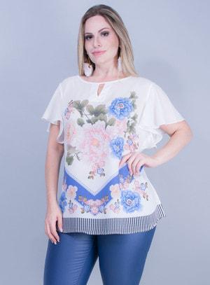 Blusa em Chiffon com Estampa Floral
