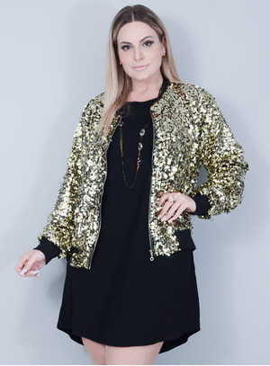 Jaqueta Bomber Paetê Dourada